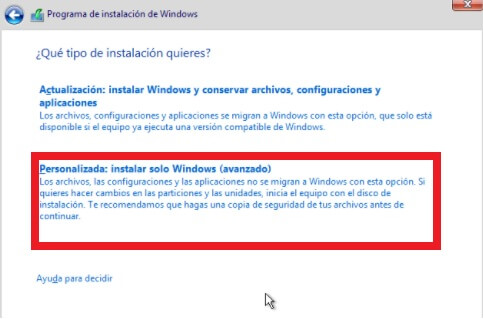 Instalacion Personalizada Windows 10
