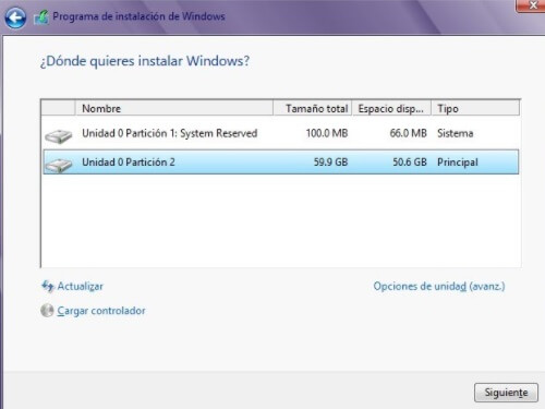 Seleccion de disco donde instalar windows 10